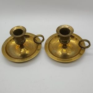 Vintage brass pair of candle holders